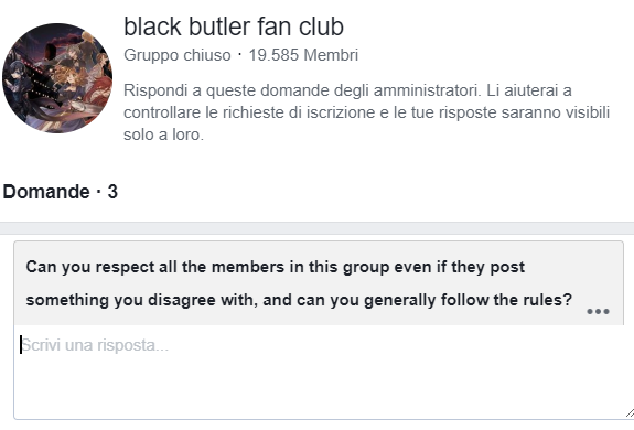 Facebook, screenshot, black butler fan club