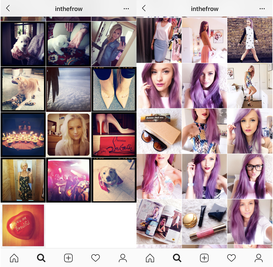 Inthefrow's Instagram posts in 2011 (left) and 2014 (right)