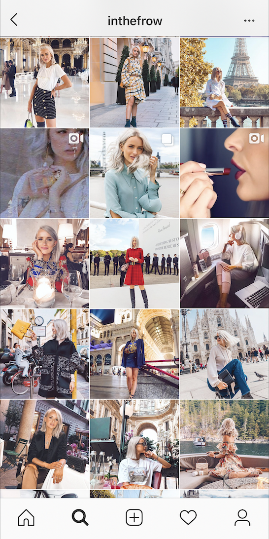 Inthefrow's Instagram posts between 20 September and 29 September