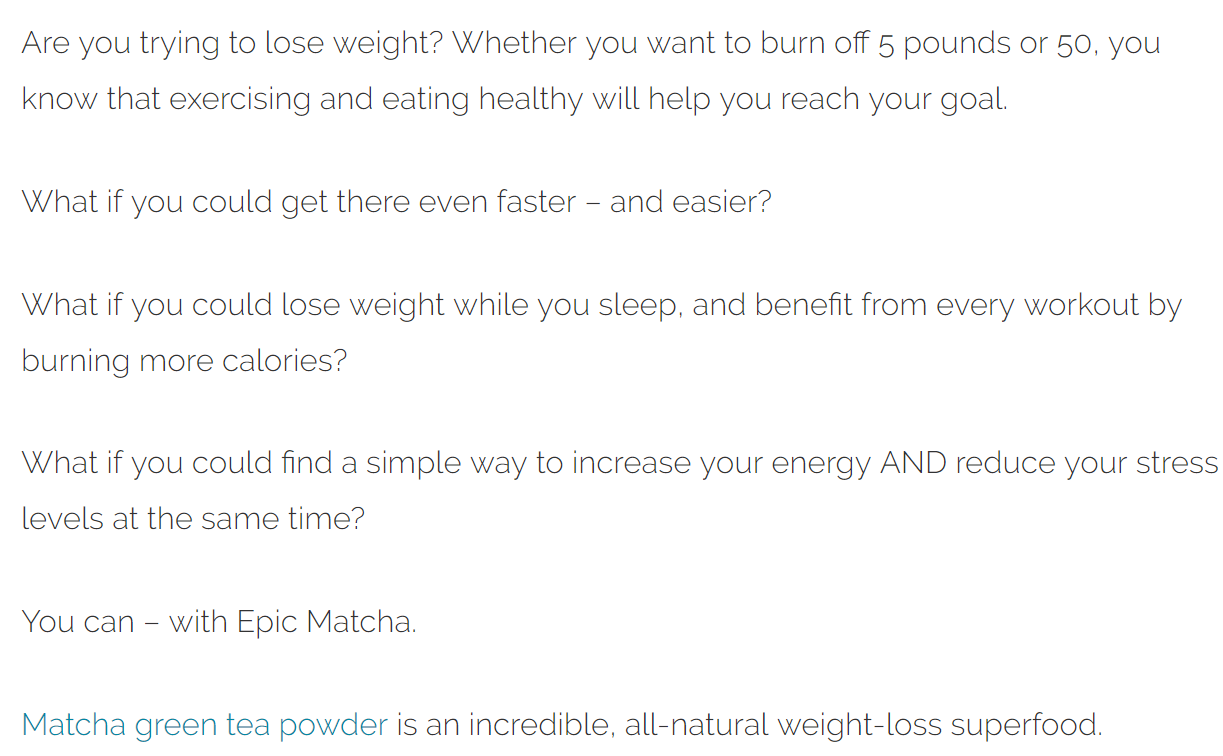 epicmatcha, easy weightloss