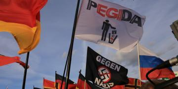 Flags at Pegida rally