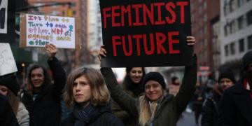 Women protesting against sexism for equality #metoo