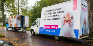 Wakker Dier chasing a home delivery van from supermarket Albert Heijn