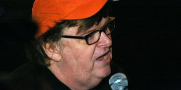 Michael Moore, left, liberal
