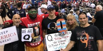 QAnon members along with Trump supporters
