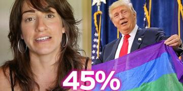 Arielle Scarcella with an image of Trump holding the LGBTQ+ rainbow flag