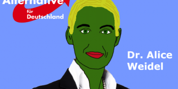 Meme Alice Weidel from Alternative fur Deutschland as Pepe The Frog  in the meme war