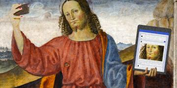 Jesus holds a smartphone to create a selfie for his Facebook timeline