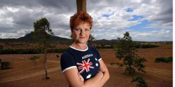 Pauline Hanson wearing Australian Flag top in the Australian outback