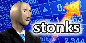 "a meme showing a character next to a graph labelled ""stonk"""