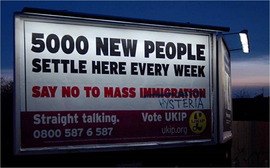 Figure 2. UKIP election poster vandalized. Source: https://politicaladvertising.co.uk/2010/04/12/ukips-new-poster-vandalised/