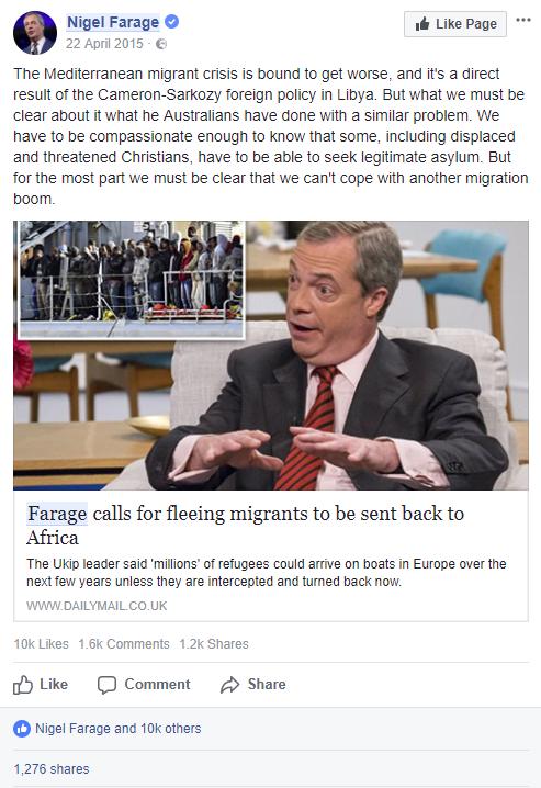 Figure 9. Nigel Farage on Facebook (April 22, 2015)