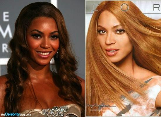Beyoncé during a public event and while modeling for a L'Oréal hair dye