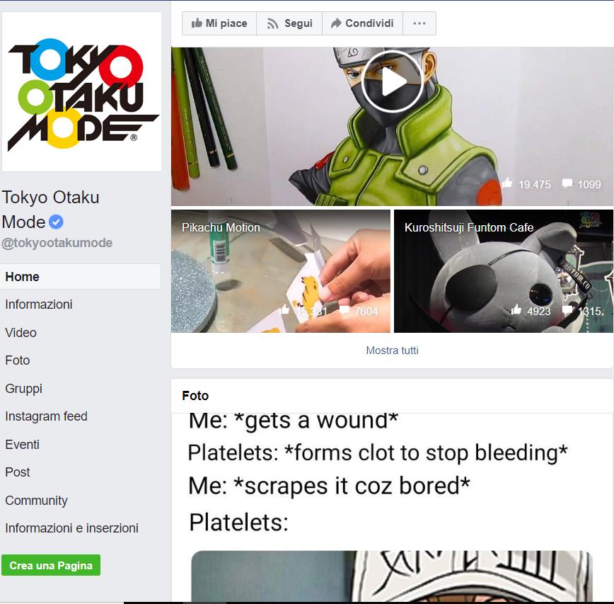 Facebook, screenshot, Tokyo Otaku Mode